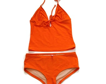 Orange 2 pc Bathing suit Tankini Swimsuit boyshorts size medium