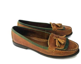 Womens Tan Brown Leather Loafers by Bass Size 7.5