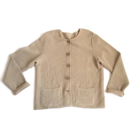 90's Camel Textured Knit Cardigan Oversized