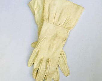 Vintage Kid Leather Gloves Womens Cuffed Leather Gloves