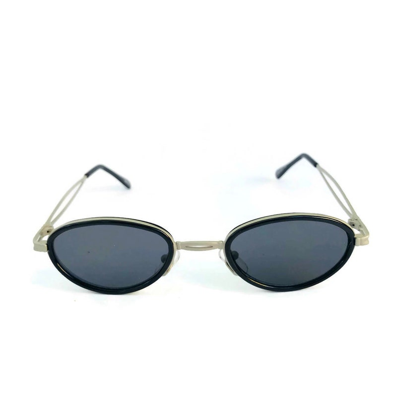 e7f845709c 90 s Vintage Oval Sunglasses Metal Frame Urban Steampunk