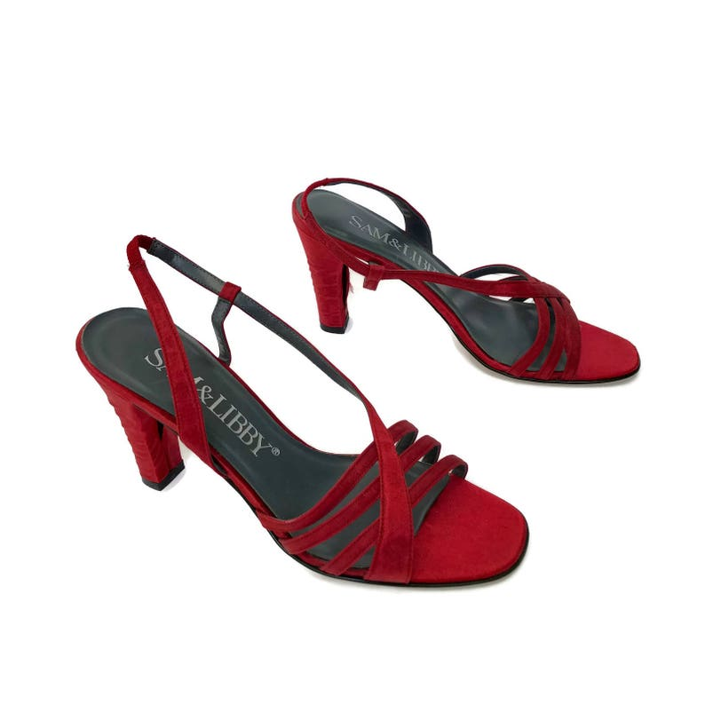 228e14bc272 90 s Red Satin Strappy Heels size 7.5