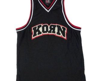 Vintage Rare 90s Korn Jersey T Shirt Nu Metal Life is Peachy 98' Tour size XL