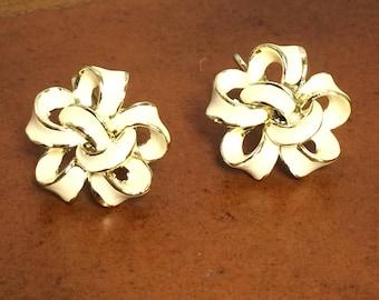 Vintage Coro, Silver Tone, White Enamel, Floral, Clip-on Earrings, 1950's