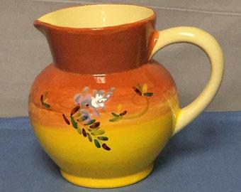 French Ceramic Pitcher, Atelier Du Sage Faience Pottery, France, Purple Wisteria