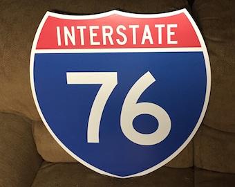 """Vintage Original INTERSTATE 76 Highway Shield Metal Sign Highway I-76 Sign Traffic Sign Man Cave Decor 24"""" x 24"""""""