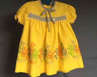 Vintage Yellow Baby Dress from Sears, Yellow Dress with Stitched Animals and Gingham Trim
