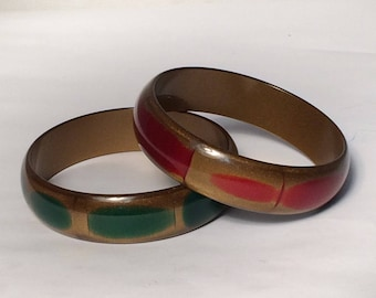 Vintage Red and Gold Glitter Lucite Bangle