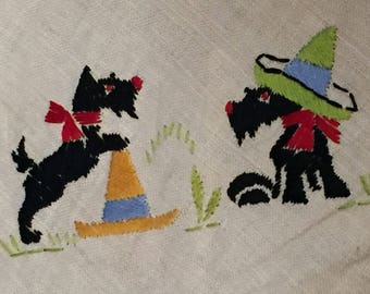 Vintage Small Tablecloth Hand Embroidered Scottie Dog