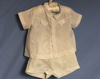 Vintage Duets By Little Craft, Two Piece Baby Outfit, Blue Shirt and Shorts,