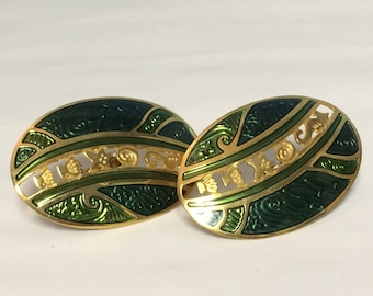 Vintage, Edgar Berebi signed Green and Gold Tone Earrings with Screw Back Clasp.