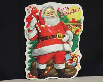 1950s timco plastic blow mold santa clause 3 d wall hanging vintage christmas wall decor