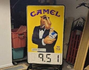 Vintage 1992 Metal CAMEL Cigarettes Gas Station Sign, Joe Camel, Store Advertising Sign, Tobacco Advertising