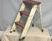 Old Red and White Metal Stepladder Stool, 24 quot Folding Rusting Step Stool Ladder, Plant Stand, Display Ladder, Distressed Shabby Paint