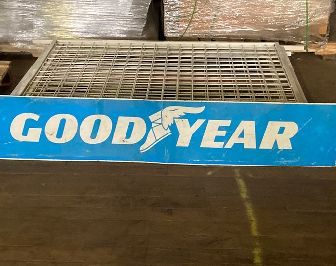 """Featured listing image: 1950's Goodyear Tires 66"""" Double Sided Sign, Service Station Tire Advertising"""