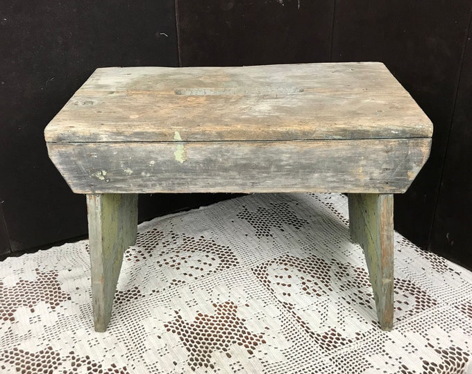 Featured listing image: Old Primitive Handmade Wooden Footstool, Antique Wood Step Stool, Small Seat, Plant Stand, Garage, Farmhouse, Rustic, Ranch