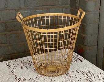 Vintage Driving Range Golf Ball Basket,  Wire Egg Basket, Primitive Farmhouse Basket, Two (2) Handled Metal Basket