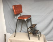 Shabby Red Early 1950 39 s COSCO Metal Step Stool Chair with Pull out Steps, Mid Century Kitchen, Step ladder, Garden Stand, Shabby