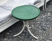 Mid Century Round Metal Outdoor Side Table, Patio Accent Table, Drink Table, Garden Table, Plant Stand, Removable Top, Folding Legs