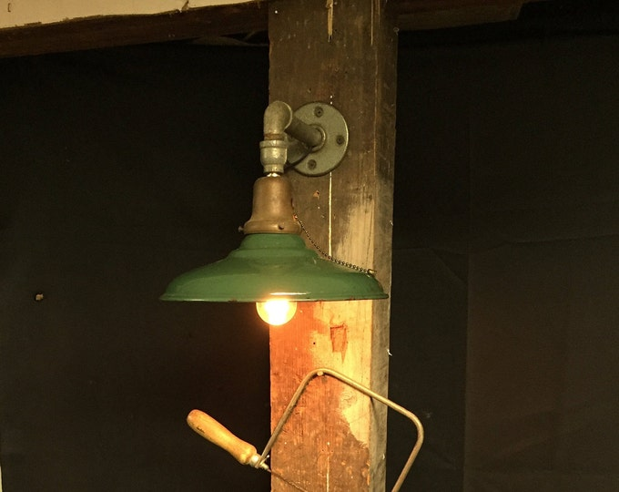 Featured listing image: Old Original Green Porcelain Barn Light Fixture Electric Wall Sconce, Hanging Green Industrial Light Shade, Gas Station Hardware Store Light