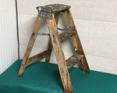 1960 39 s Small Wooden Step Ladder Stool, 22 quot Folding Step Stool, Stepladder, Paint Splatter, Rustic Display Ladder