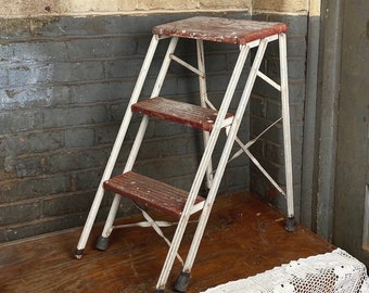 Aristocrat Wood and Metal Stepstool, Red and White Folding Stepladder Stool, Shabby Plant Stand