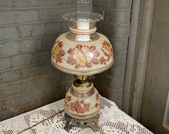A Victorian Glass Hurricane Table Lamp, Painted Beaded Floral, With Nightlight