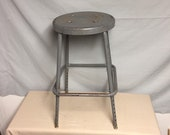 Vintage 24 quot Industrial Gray Metal Shop Stool, Automotive Service Station Stool, Industrial Decor, Man Cave, Plant Stand, Garden Stand