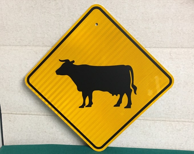 """Featured listing image: Authentic 24"""" CATTLE CROSSING Road Sign, Pennsylvania Cow Crossing Sign, Highway Sign"""