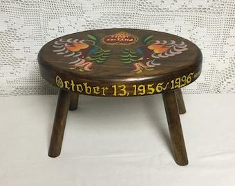 Pennsylvania Dutch Handmade Wooden Foot Stool, Distelfink, Folk Art, Bird, Tulip, Heart, Hand Painted Wood Stool, Step Stool, Farmhouse