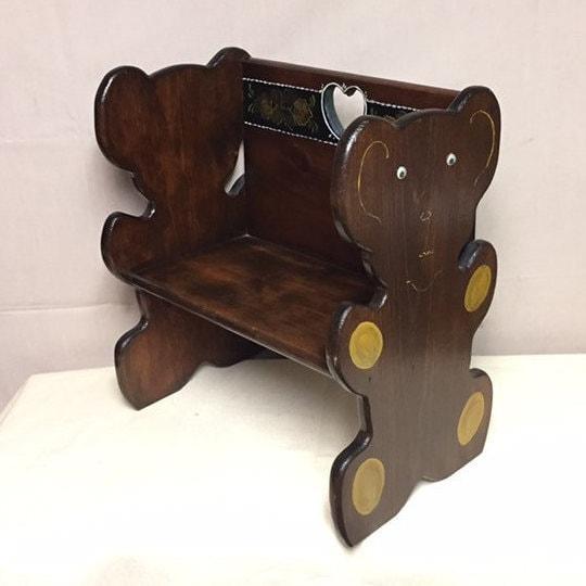 Fabulous Vintage Wooden Childs Bench Teddy Bear Bench Doll Bench Inzonedesignstudio Interior Chair Design Inzonedesignstudiocom