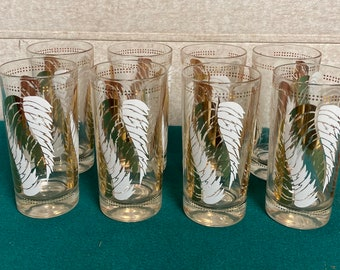 Mid Century Lex Kuznak Highball Glasses, Set of Eight (8), White and Gold Fern Leaf Pattern, Retro MCM Cocktail Tumbler