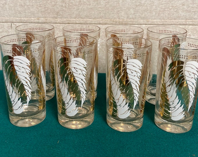 Featured listing image: Mid Century Lex Kuznak Highball Glasses, Set of Eight (8), White and Gold Fern Leaf Pattern, Retro MCM Cocktail Tumbler