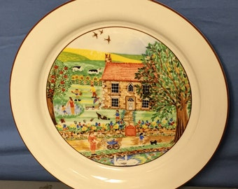 """Lenox 10.75"""" Chinastone Special Plate, Country Summertime Scene, Porcelain Plate, Lenox China, Ceramic Dish"""