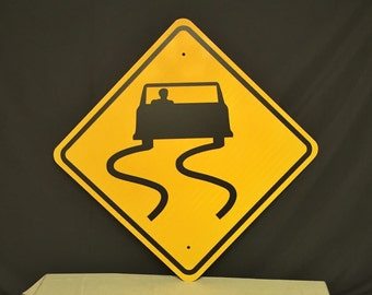 """Authentic 24"""" SLIPPERY When WET Pa Highway Sign, Real Road Sign, Penn dOT Sign, Street Sign, Man Cave"""