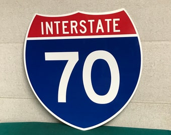 Original INTERSTATE 70 Sign, I-70 Highway Shield NEW Old Stock, Real Road Highway Sign