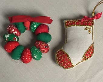 Handmade Fabric Pillow Stitched Ornaments, Christmas Wreath and Stocking, Holiday Decoration