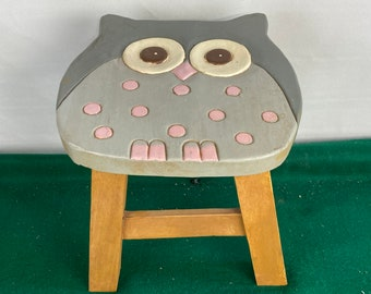 Wooden Carved Owl Stepstool,  Hand Painted Child's Step Stool