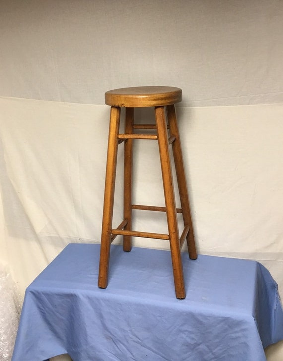 Awe Inspiring Vintage Shabby Wooden Farm Stool Hardware Store Counter Stool Chippy Paint Creativecarmelina Interior Chair Design Creativecarmelinacom