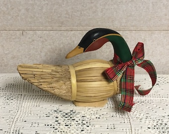 Wood and Seagrass Goose, Russ Berrie Hand Painted Goose, Straw Goose, Made in the Philippines, Christmas Decor