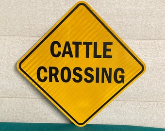 """Authentic 24"""" CATTLE CROSSING Road Sign, Pa Cow Crossing Highway Sign, Real Road Sign, Man Cave"""