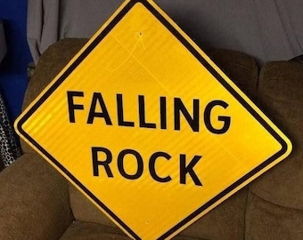"""An Authentic FALLING ROCK Road Sign Pa Highway Sign Traffic Sign Man Cave 24"""" x 24"""""""