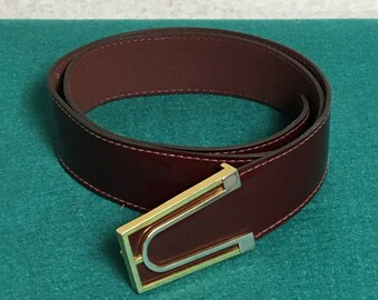 Burgundy Patent Leather Belt with Two Tone Buckle, Size 38, Leather Belt, Designer Belt, Accessories