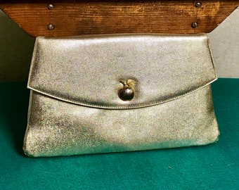 Miss Lewis Gold Clutch Purse, Gold 1960's Evening Bag, Envelope Clutch, Gold Tone Apple