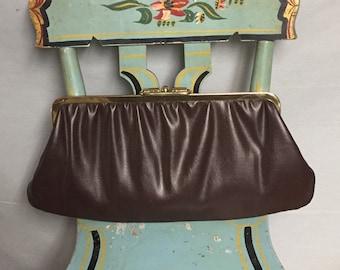 Brown Vinyl Clutch Purse, Faux Leather Handbag, Gold Tone Trim, Vintage Purse