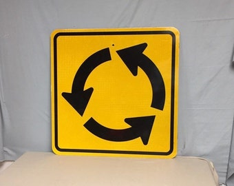 An Authentic Metal Pa Traffic Circle Road Sign, Roundabout Street Sign, DOT Highway Sign, Man Cave