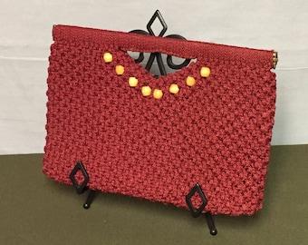 Red Macrame Clutch, Wooden Bead Decoration, Flex Frame Purse