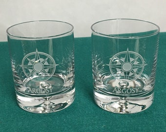 Engraved Ravenscroft Lowball Cocktail Glasses, Custom Made, Nautical Star, Argosy Glasses, Set of Two (2), Collectible Glasses