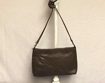Taupe Leather Crossbody Purse, Clutch Handbag, Removable Strap, Split Leather Purse, Diagonal Pleat Purse