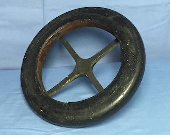 Vintage Industrial Wooden Stool Top, Round Wood and Metal,